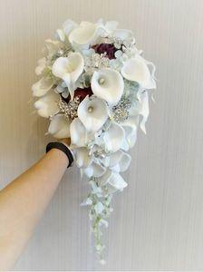 2019 high-end özel düğün buket beyaz calla lily mavi şarap kırmızı gül açık mavi ortanca DIY inci kristal broş gelin buketi
