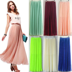 2019 Womens Chiffon pieghettato retrò lungo maxi gonna piena gonna elastica gonna in vita elastica