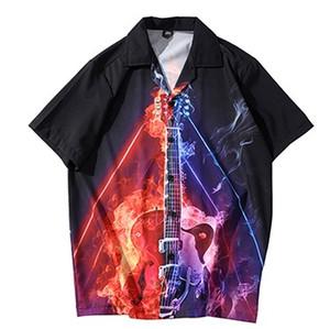 2020 Hip Hop camisa havaiana Streetwear homens camiseta Chama guitarra do fogo Imprimir Harajuku camisa da praia de HipHop Camisas do verão de manga curta
