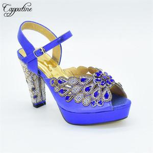 Последние Royal Blue Высокий каблук леди Сандал обувь с Стразы для свадьбы / партии 88-27 Высота каблука 11см