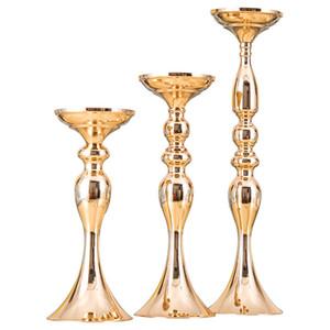 Vente en gros moins cher en métal arrangement de table vase pièces maîtresses route décors de chandeliers décorations de mariage