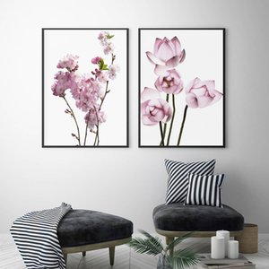 Blossom Pear Lotus Nordic Poster Pink Wall Art Canvas Painting Posters And Prints Wall Pictures For Living Room Bedroom Decor