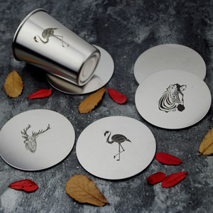 Nordic Style Tasse Matte Rutschfeste Zebra Flamingo Muster Runde Geschirr Pad Edelstahl Untersetzer