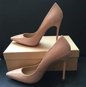 무료 배송 그래서 케이트 스타일 8 센치 메터 10 센치 메터 12 센치 메터 하이힐 신발 레드 바닥 누드 컬러 정품 가죽 포인트 발가락 펌프 고무 웨딩 신발