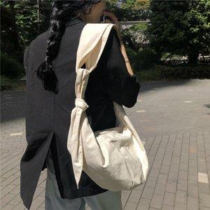 Fiyonk Tuval Kadın Çanta 2020 Kadın Omuz Çantası Kadınlar Plajı'nın Casual Dumpling Bez Crossbody çanta Sac A Ana