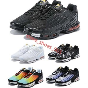 Hot Sale Plus III 3 TN Mens TUNED Airs Running Shoes Classic Outdoor Tn Black White Sport Shock Sneakers Men Requin Blue Spider Hococal