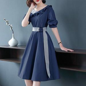TiLeewon New Chiffon Dress V-neck Summer Long Dress Solid Color Casual Ladies Korean A-line Style Slim