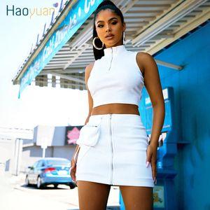 Haoyuan Black White Rib Knit 2 Piece Set Mulheres Rave Festival Roupa Sexy Clube Outfits Cortar top e saia Suits Produtos a condizer