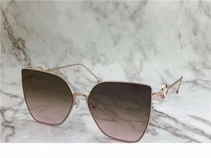 0323 S Rose Gold Brown Shaded Cat Eye Sunglasses donne occhiali da sole firmati Luxury Eyewear nuovo con la scatola