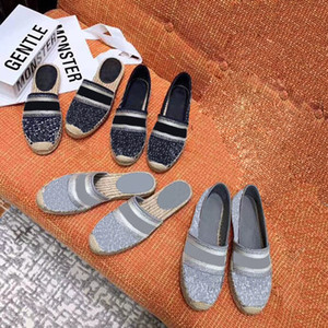 Dazzle Flores Mujeres Alpargatas zapatos planos Diseñador clásica de los holgazanes del bordado de las letras rayadas de los holgazanes de los zapatos de los deslizadores multicolor con Caja