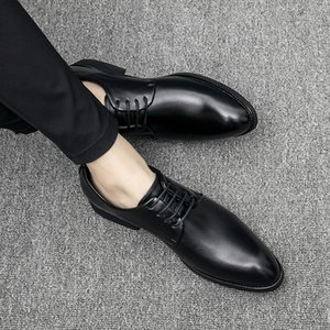 Hot Sale-Leather Shoes Black Men Wedding Shoe Fashion Male Formal Oxford Flats Casual Lace Up Business Pointed Toe Shoes For Men cs6