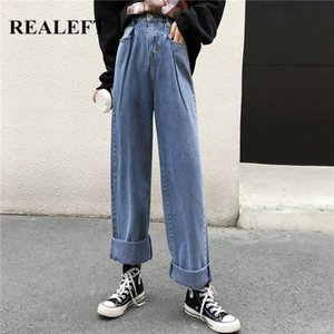 REALEFT 2020 New Spring Fashion Jeans jambe large taille haute femmes Casual Jeans Femme Pantalons Femme Denim pour Pantalons femme