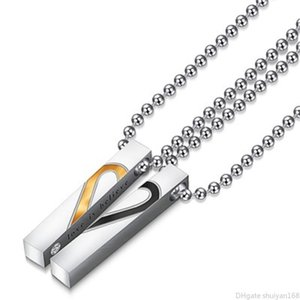 Love Heart Couple Pendant Necklaces Stainless Steel Rectangular Prism Charm Statement Necklace Lovers Jewelry Valentine's Day Gifts