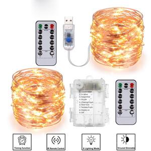 أضواء عيد الميلاد في الهواء الطلق النحاس ضوء سلسلة 10M 20M التحكم عن بعد توقيت البطارية USB حديقة Lght لحفلة عيد الميلاد الديكور