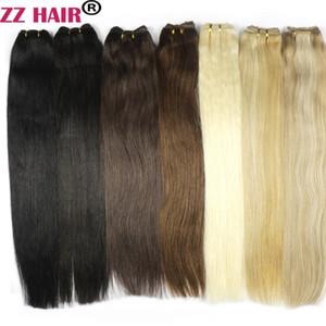 "ZZHAIR 100g pcs 16""-24"" Machine Made Remy Hair Weft Weaving 100% Human Hair Extensions Straight Natural Silk Non-clips Hair"