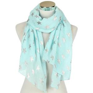 FOXMOTHER Новой мода Sky Blue Mint White Navy Цвет Фольга Щепка Star закручивание хиджаб шарф женщины