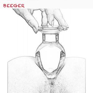 Beeger 와이드 유리 엉덩이 플러그, 50mm 대형 크리스탈 엉덩이 플러그 음부 공, 큰 Pyrex 유리 항아리 Dildo 구슬 Y19062902