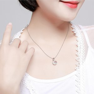 Smart micro-studded zircon pendant gold plated flash Diamond beating heart necklace women's ornaments