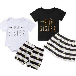 QH الترتر الوليد الاطفال الرضع الكبير ليتل بنات الأعلى تي شيرت تنورة سروال قصير مخطط تتسابق مجموعة ملابس الصيف