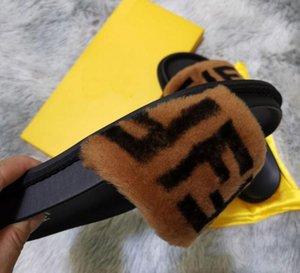 2020 Real Fox Fur Slippers Slides Shoes Furry Fuffly Slipper Flip Flops Sandals Sliders Drag Sandal Summer Shoes Women