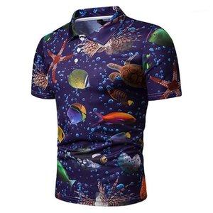 Tops Verão magro Male Tees Azul Impresso Designer Mens lapela mundo camisetas Mar do pescoço manga curta Mens