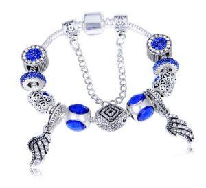 18 19 20 21CM Charm Bracelets Deep blue cat eye bracelet DIY feather pendant beaded bracelet W86