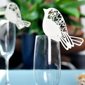 heap Party DIY Decorations 50pcs Laser Cut Ivory Love Bird Wedding Supplies Name Place Card Holder Wedding Party Table Wine Glass Decorat...