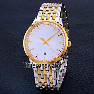Yeni Master Kontrol Tarihi Q1288420 Miyota 8215 Otomatik Mens Watch İki Ton Sarı Altın Beyaz Kadran Paslanmaz Çelik Timezonewatch E25b2