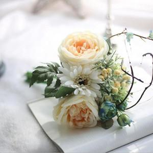 Bridal Bouquet Artificial Blue Rose Frühling blüht Blumenstrauß Camellia Magnolia Blumenhoch Peony Arrangement gefälschte Blumendekor