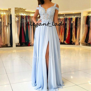 Lace Chiffon fessura lunghi abiti da damigella d'onore 2019 fuori dalla spalla Lilla Junior damigella d'onore Boemia Country Wedding abito del partito