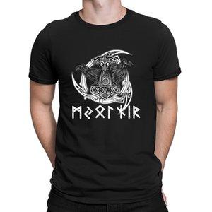 Mjoelnir Runes Thor Hammer Ravens Tshirt Printing Euro Size Spring Tops Tshirt For Men Quirky Crazy Building Anlarach Original