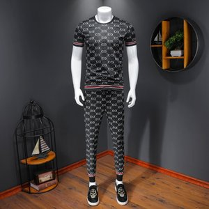 European Station Summer Tide Men's Fashion Letter Print Round-neck Short-sleeved T-shirt Trousers Slim Sports Casual Suit