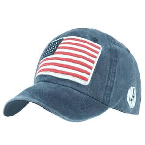 USA Flag Patch Denim lavabili 6 colori Berretti Cappello da baseball registrabili Snapback Uomini Donne Outdoor Sports Cap