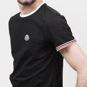 Q7 diseñador de la marca de lujoMoncler camisa para hombre Negro Blanco Algodón Naranja Mezcla de cuello redondo manga corta de impresión Tamaño S-3XL