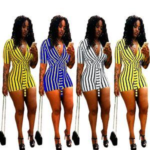 calções Mulheres Striped Imprimir Straps Jumpsuit Summe profundo decote em V manga curta Streetwear Romper Calças Clubwear LJJA2590 playsuit