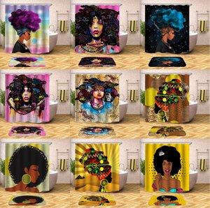 방수 욕실 아프리카 여성 폴리 에스터 직물 샤워 욕실 보라색 머리 헤어 스타일 커튼 예술 여성 블랙 커튼