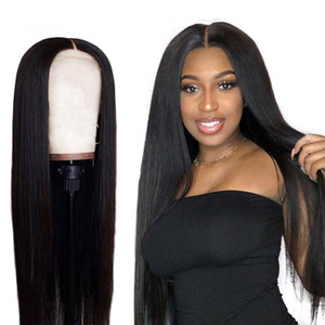 Remy Düz 13x4 Dantel Açık Peruk Gerçek İnsan Saç Toperler diker olarak% 150 Brezilyalı Saç Siyah Kadın Peruk Örgülü Yukarı Öncesi Mızraplı