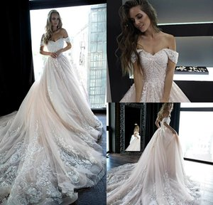 Оливия Bottega Страна Свадебные платья с плеча шнурка Аппликации Pearls линия Light Pink Beach Свадебные платья Boho Свадебные платья 4358