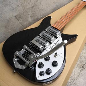 527mm Kısa Ölçekli Uzunluk John Lennon 325 Jetglo 6 Dize Siyah Elektro Gitar Bigs Tremolo, Kırmızı Boya Klavye, 3 Ekmek Kızartma Takımları