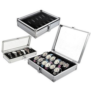 6/12 Griglia Slot box guardare conveniente vigilanza chiara avvolgitore gioielli da polso di caso Orologi supporto dell'esposizione Storage Box in alluminio organizzare