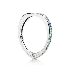 Otantik 925 Gümüş Köpüklü Yaylar Aşk Yüzükler Set Orijinal Hediye Kutusu için Pandora Gökkuşağı CZ Elmas Lüks tasarımcı Yüzük
