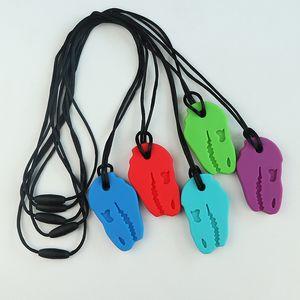 Sensorische Chew Halskette Dinosaurier-Baby-Food Grade-Silikon-Beißringe Chewable hängende Halskette für Chewing Schnuller-Kleinkind-Autismus-Spielzeug