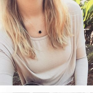 Lava Rock Pendant Necklace Natural Stone Bead Charm Necklace Chokers Gold Silver Chains Fashion Jewelry for Women Girls