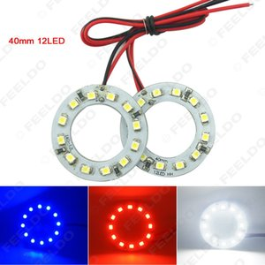 2pair / lot 40 mm de coches Angel Eyes 1210/3528 12SMD LED iluminación del faro azul del anillo del halo del ojo del ángel Blanco Rojo # 2666