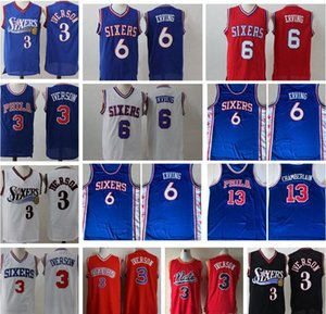 Basketball Jerseys Vintage Mens 6 Julius Erving NCAA College Allen 3 Iverson Jersey Cheap Wilt Chamberlain 13 Stitched Shirts