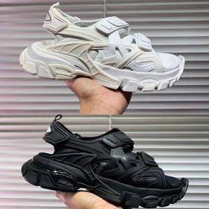 Sandalias de suela de nueva espuma resistente al desgaste versión más alta par de modelos cómodos y antideslizantes 35-44 femeninos Triple S 20ss sandalias pista