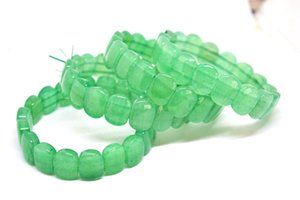 India Natural Green Jade Gemstone Stretchy Pink Crystal Burmese Jade Women Handmade Bracelet Accessories Gifts Wholesale