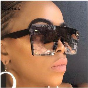 Emosnia Flat Top Occhiali da sole quadrati oversize Donne Moda Gradient Occhiali per gli uomini