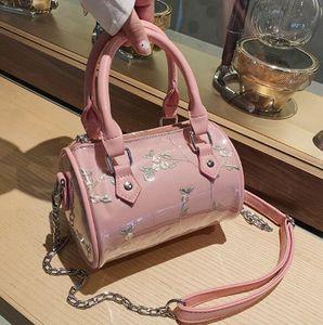 2020 PVC Pillow Bag Women Shoulder Bags Crossbody Gauze Flower Embroidery Lady Travel Handbags Mini Chain Bag