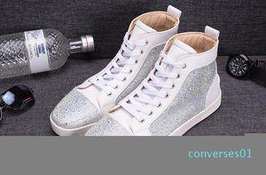 Mode blanc Rhinetone design cristal en cuir véritable pour les hommes femmes chaussures de sport rouge en bas entraîneur loisirs de luxe chaussures causales c16 CO01